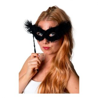 Ögonmask Spets på Pinne Svart - One size