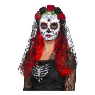 Day of the Dead Mask med Slöja Svart - One size