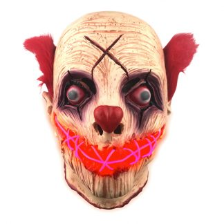 El Wire Clown med Flint LED Mask - One size
