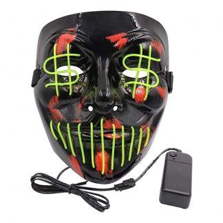 El Wire Purge Dollarsign LED Mask - Limegrön