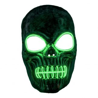 El Wire Skelett Grön LED Mask - One size
