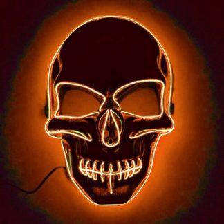 El Wire Skull LED Mask - Orange