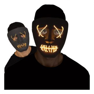 El Wire Stitches Svart/Gul LED Mask - One size