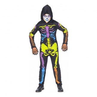 Färgglad Skelett Barn Maskeraddräkt - X-Large