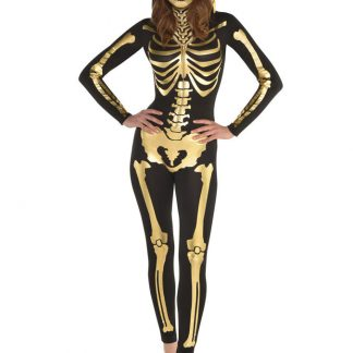 Guld Skelett Jumpsuit Dräkt (Small (str. 36-38))