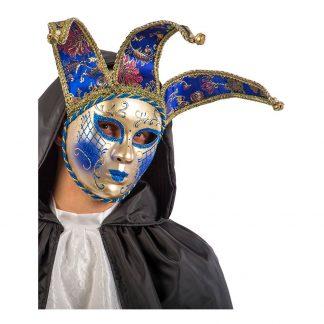 Gycklare Maskeradbal Guld/Blå Mask - One size