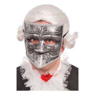 Halvmask Maskeradbal Silver - One size