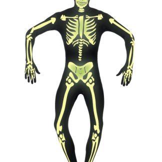 Hudnära självlysande skelett-dräkt