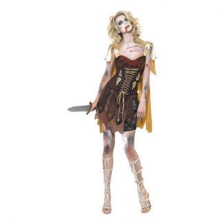 Kvinnlig Zombie Gladiator Maskeraddräkt - Small