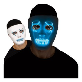 LED Mask Stitches Vit/Blå - One size