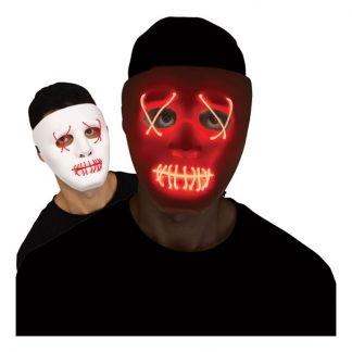 LED Mask Stitches Vit/Röd - One size