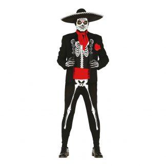 Mexikanskt Skelett Maskeraddräkt - One size
