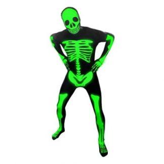 Morphsuit Självlysande Skelett Maskeraddräkt - X-Large