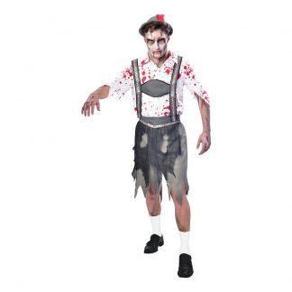 Oktoberfest Zombie Man Maskeraddräkt - Large
