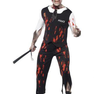 Polis Zombie Maskeraddräkt
