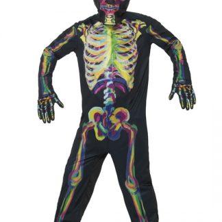 Självlysande Skelett Maskeraddräkt Barn Small