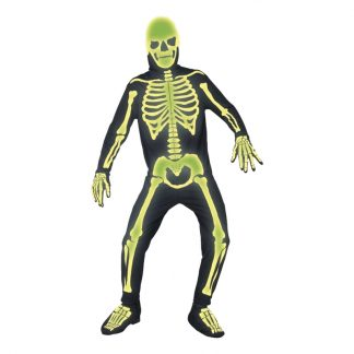 Självlysande Skelett Maskeraddräkt - Medium