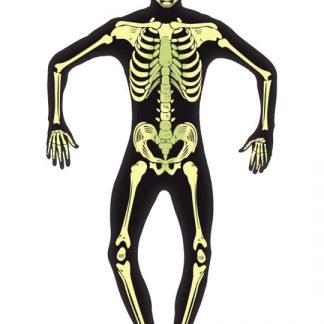 Självlysande Skelett Maskeraddräkt Small
