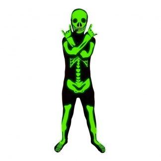 Självlysande Skelett Morphsuit Barn Maskeraddräkt - Large