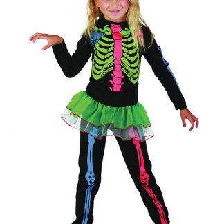 Skelett Neon Maskeraddräkt Barn (Small (3-4 år))