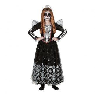 Skelett Prinsessa Barn Maskeraddräkt - Medium