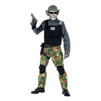 Skelett Soldat Maskeraddräkt - Small