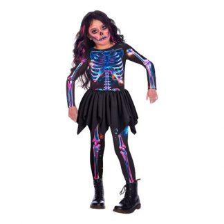 Skelett med Kjol Neon Barn Maskeraddräkt - X-Small 3-4