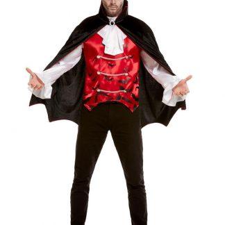 Vampyr Maskeraddräkt Röd och Svart (Medium)