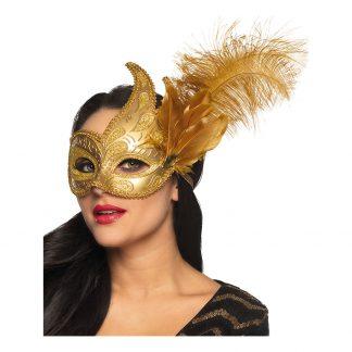Venetiansk Ögonmask Guld med Fjädrar - One size