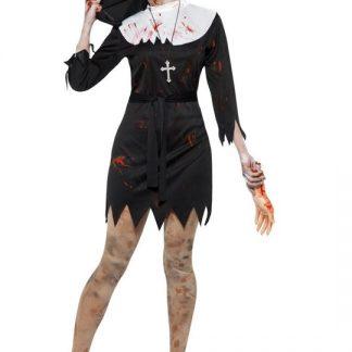 Zombie Blodig Nunna Maskeraddräkt Medium