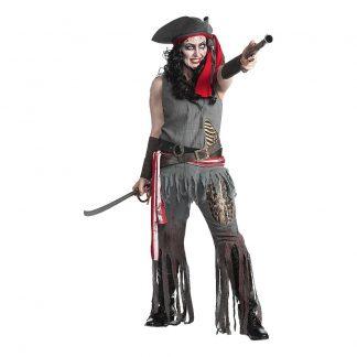 Zombie Pirat Dam Deluxe Maskeraddräkt - Medium