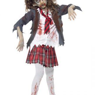 Zombie Skolflicka Maskeraddräkt Barn Ungdom
