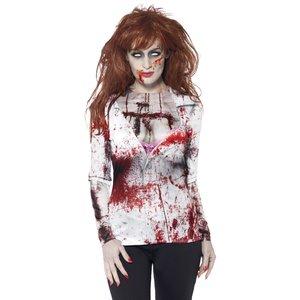 Zombie kvinna T-tröja, maskeraddräkt